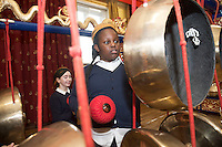 repro free: Galway Gamelan Experience at the Rowning Club where Princess Weyinmiecthie Scoil Leanbh Iosa and her fellow students experienced the musical magic of the Gamelan- a traditional Indonesian orchestral Instrument an deere joined by  Cllr Frank Fahy Mayor of Galway City.  <br />  Photo:Andrew Downes, xposure