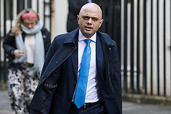 London, UK. 28 January, 2020. Sajid Javid, Chancellor of the Exchequer, leaves 11 Downing Street following a National Security Council meeting convened to finalise the role of Chinese multinational technology company Huawei in the construction of the UK's 5G digital network.