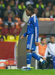 MOSCOW, RUSSIA - Wednesday, May 21, 2008: Chelsea's Didier Drogba walks off the pitch after being shown the red card during the UEFA Champions League Final Manchester United at the Luzhniki Stadium. (Photo by David Rawcliffe/Propaganda)