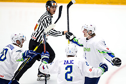Sabahudin Kovacevic of Slovenia, Miha Zajc of Slovenia and Jan Drozg of Slovenia celebrate during ice hockey match between Hunngary and Kazakhstan at IIHF World Championship DIV. I Group A Kazakhstan 2019, on May 3, 2019 in Barys Arena, Nur-Sultan, Kazakhstan. Photo by Matic Klansek Velej / Sportida