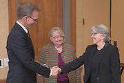 From left: Joseph Shields, Vice President for Research & Creative Activity and Dean of Ohio University's Graduate College along with Pam Benoit, Executive Vice President and Provost, name Sarah Wyatt as one of five Presidential Research Scholars during the 2016 Faculty Awards Recognition Ceremony held at Baker Center on Tuesday, September 6, 2016.