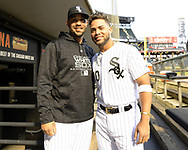 CHICAGO - SEPTEMBER 26:  Jose Abreu #79 (L) and Yoan Moncada #10 of the Chicago White Sox pose for a photo in the dugout prior to the game against the Cleveland Indians on September 26, 2018 at Guaranteed Rate Field in Chicago, Illinois.  (Photo by Ron Vesely)  Subject: Jose Abreu; Yoan Moncada