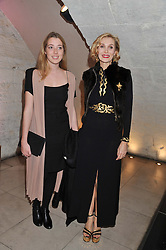 Left to right, ANGELICA HICKS and her mother ALLEGRA HICKS at a private view of 'Valentino: Master Of Couture' at Somerset House, London on 28th November 2012.