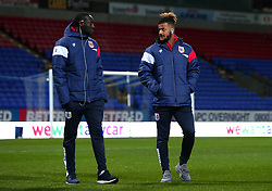 Lois Diony and Famara Diedhiou of Bristol City arrive at the Macron Stadium ahead of the fixture with Bolton Wanderers - Mandatory by-line: Robbie Stephenson/JMP - 02/02/2018 - FOOTBALL - Macron Stadium - Bolton, England - Bolton Wanderers v Bristol City - Sky Bet Championship
