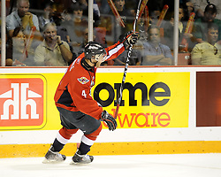 Taylor Hall of the Windsor Spitfires celebrates a goal in Game 4 of the 2010 MasterCard Memorial Cup in Brandon, MB on Monday May 17. Photo by Aaron Bell/CHL Images