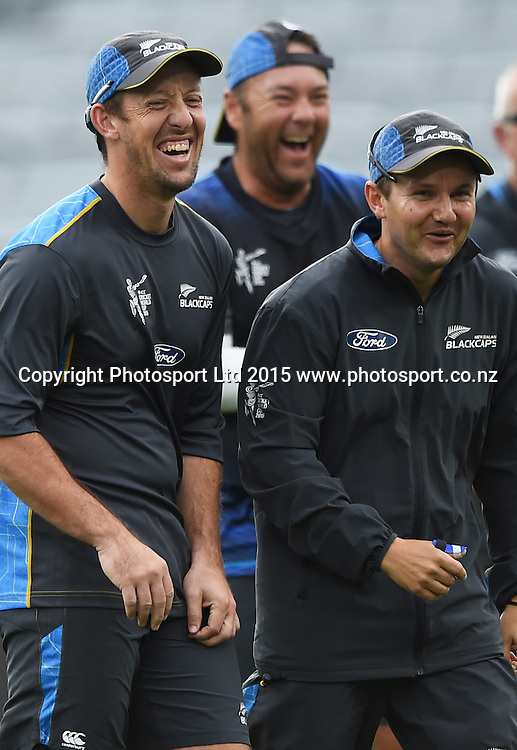 Luke Ronchi and Mike Hesson during training at Eden Park in Auckland ahead of the semi final Cricket World Cup match against South Africa tomorrow. Monday 23 March 2015. Copyright photo: Andrew Cornaga / www.photosport.co.nz