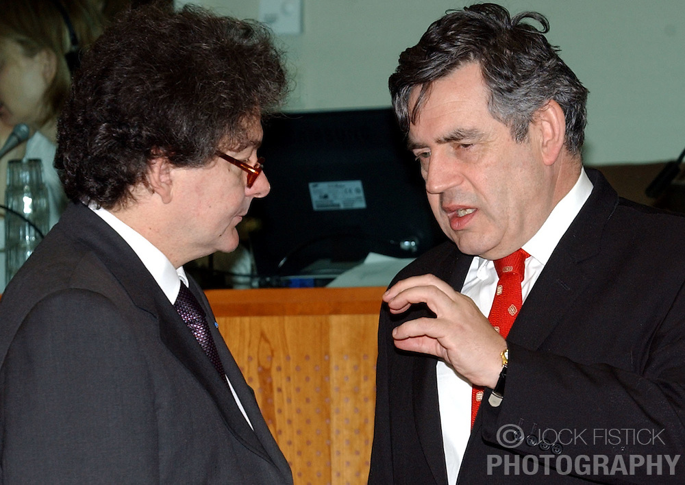 BRUSSELS, BELGIUM - MARCH-08-2005 - Thierry Breton, France's finance minister, left speaks with Gordon Brown, the UK's finance minister, during the ECOFIN conference, a meeting of  European Union finance and economic ministers, in Brussels.