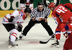 Jonathan Toews (16) of Canada vs Sergei Zinoviev (42) of Russia at  ice-hockey game Canada vs Russia at finals of IIHF WC 2008 in Quebec City,  on May 18, 2008, in Colisee Pepsi, Quebec City, Quebec, Canada. Win of Russia 5:4 and Russians are now World Champions 2008. (Photo by Vid Ponikvar / Sportal Images)