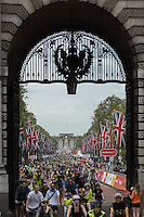 LONDON UK 30TH JULY 2016:  Admiralty Arch. The Prudential RideLondon FreeCycle event over closed roads around the city. Prudential RideLondon in London 30th July 2016.<br /> <br /> Photo: Bob Martin/Silverhub for Prudential RideLondon<br /> <br /> Prudential RideLondon is the world&rsquo;s greatest festival of cycling, involving 95,000+ cyclists &ndash; from Olympic champions to a free family fun ride - riding in events over closed roads in London and Surrey over the weekend of 29th to 31st July 2016. <br /> <br /> See www.PrudentialRideLondon.co.uk for more.<br /> <br /> For further information: media@londonmarathonevents.co.uk