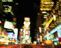 USA, New York, New York City, Times Square at night (blurred)