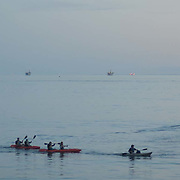 Kayakers paddling. Santa Barbara, CA.
