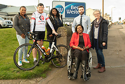 A Charity Bike Ride is linking the two Portobellos in Edinburgh and London this weekend. A former Edinburgh Portobello resident Gordon Barclay will set off tomorrow (Sunday 24th) to cycle to London. The ride will raise funds for Clarrie Mendy, who tragically lost 2 relatives in the Grenfell Tower Disaster and has now been diagnosed with Motor Neurone Disease, and for Doddie Weir's MY NAME5 DODDIE foundation. Pictured: Haja-Marianna Tholley, Gordon Barclay, Mandy Benjamin, Clarrie Mendy, Eddie Robb (President of Portobello Rugby Club), Maureen Child, (Portobello, Edinburgh councillor)<br /> <br /> <br /> © Jon Davey/ EEm