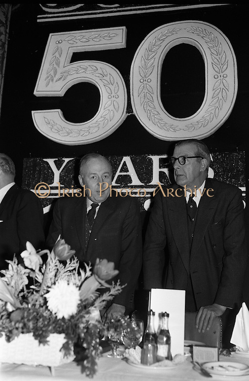 07/02/1963<br /> 02/07/1963<br /> 07 February 1963<br /> Brittain Dublin Ltd. Golden Jubilee reception and Dinner at the Hibernian Hotel, Dublin. Picture shows Mr. G.C.V. Brittain, Vice Chairman, (left) of Brittain Dublin Ltd. and Mr. H.C.R. Mullens, Director, British Motor Corporation Services Ltd. pictured before the dinner.