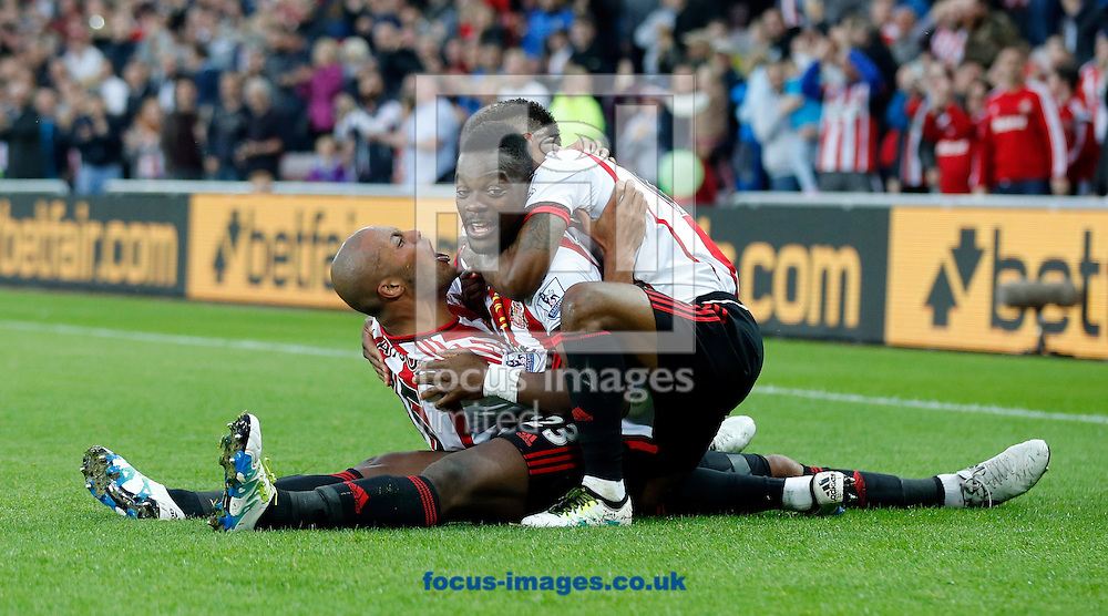 Lamine Kone (c) of Sunderland celebrates scoring to make it 2-0 during the Barclays Premier League match at the Stadium Of Light, Sunderland<br /> Picture by Simon Moore/Focus Images Ltd 07807 671782<br /> 11/05/2016