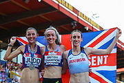 Silver medalist Jessica JUDD, gold medalist Eilish MCCOLGAN and bronze medalist Laura WEIGHTMAN after the Women's 5000m Final during the Muller British Athletics Championships at Alexander Stadium, Birmingham, United Kingdom on 25 August 2019.