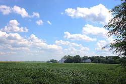 27 August 2011: High Dynamic Range image (HDR) of The historic Funks house is seen across a field of soybeans.  The home is located 3 miles from Historic Route 66 at the Shirley Illinois Exit from I55.<br /> <br /> This image was produced in part utilizing High Dynamic Range (HDR) or panoramic stitching or other computer software manipulation processes. It should not be used editorially without being listed as an illustration or with a disclaimer. It may or may not be an accurate representation of the scene as originally photographed and the finished image is the creation of the photographer.