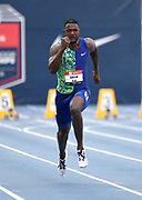 Jul 25, 2019; Des Moines, IA, USA; Justin Gatlin places second in 100m heat in 10.16 to advance during the USATF Championships at Drake Stadium.