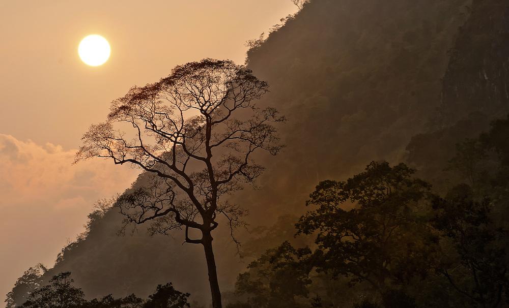 Sunset on the Nam Ou (river)near Nong Kiau, Laos.
