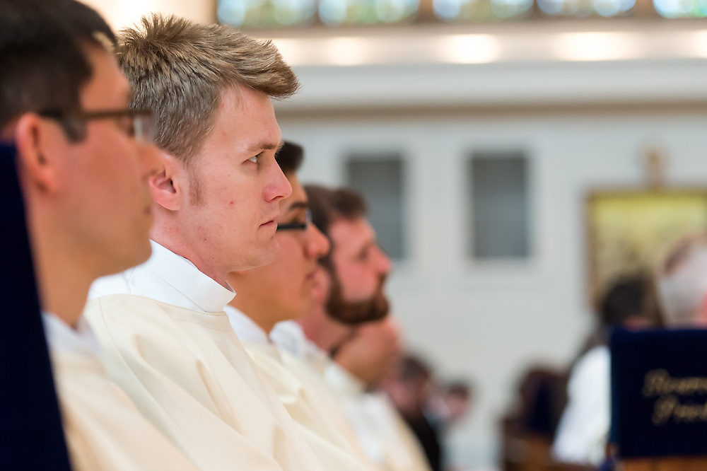 DENVER, CO - MAY 16: The Rev. Tomasz Strzebonski looks on during his ordination as a priest for the Archdiocese of Denver at the Cathedral Basilica of the Immaculate Conception on May 16, 2015, in Denver, Colorado. (Photo by Daniel Petty/Denver Catholic Register)