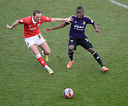 Bristol City's Luke Ayling and West Ham's Enner Valencia chase down the ball.- Photo mandatory by-line: Alex James/JMP - Mobile: 07966 386802 - 25/01/2015 - SPORT - Football - Bristol - Ashton Gate - Bristol City v West Ham United - FA Cup Fourth Round