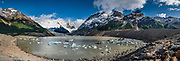 Cerro Torre (3,128 m or 10,262 ft elevation) and Laguna Torre (634 m or 2080 ft) in Los Glaciares National Park, near El Chalten mountain resort in Santa Cruz Province, Argentina, Patagonia, South America. We hiked 21 km (13 miles) round trip with 730 m (2400 ft) cumulative gain to Laguna Torre and Mirador Maestri. Los Glaciares National Park and Reserve are honored on UNESCO's World Heritage List. This image was stitched from multiple overlapping photos.