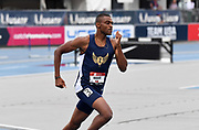 Jul 25, 2019; Des Moines, IA, USA; Khalifah Rosser places s second in 400m hurdles heat in 49.90 to advance during the USATF Championships at Drake Stadium.
