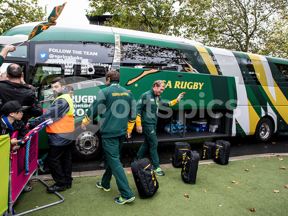 The SA team and Schalk Burger arrive prior to the Rugby World Cup Semi Final match between South Africa and New Zealand played at Twickenham Stadium, London on the 24th of October 2015. Photo by Liam McAvoy