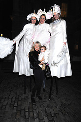 Actress TINA HOBLEY and her daughter OLIVIA with entertainers at the opening of the Somerset House ice Rink for 2008 sponsored by Tiffany & Co held at Somerset House, The Strand, London on 18th November 2008.