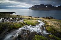 The view across Reykjarfjörður from Kjörvogshlíð. Mount Kambur in background. Strandir area Northwest Iceland.