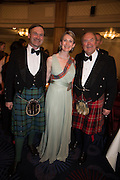 HON WILLIAM BIDDULPH; HON MRS. FRASER; LORD BIDDULPH. The Royal Caledonian Ball 2015. Grosvenor House. Park Lane, London. 1 May 2015.