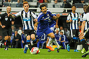 Newcastle United Jack Colback makes a hard tackle during the Barclays Premier League match between Newcastle United and Chelsea at St. James's Park, Newcastle, England on 26 September 2015. Photo by Craig McAllister.
