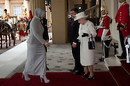 National Pictures.PH: Nick Edwards.Turkey's president, Abdullah Gul vists Buckingham Palace in London today during his State Visit to the UK,.Pictured is .Turkey's president, Abdullah Gul vists Buckingham Palace in London today during his State Visit to the UK..Pictured is Abdullah Gul, The Queen and Abdullah Gül's wife, Hayrünnisa Gül outside Buckingham Palace today during the vist.22/11/11