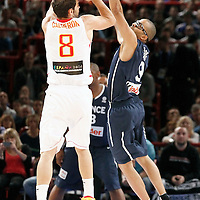 15 July 2012: Tony Parker of Team France defends on Jose Calderon of Team Spain during a pre-Olympic exhibition game won 75-70 by Spain over France, at the Palais Omnisports de Paris Bercy, in Paris, France.
