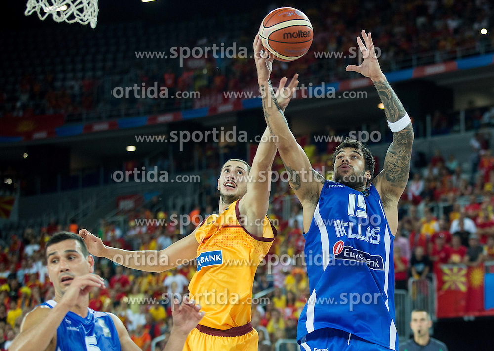 Stojan Gjuroski of Macedonia vs Georgios Printezis of Greece during basketball match between FYR of Macedonia and Greece at Day 1 in Group C of FIBA Europe Eurobasket 2015, on September 5, 2015, in Arena Zagreb, Croatia. Photo by Vid Ponikvar / Sportida