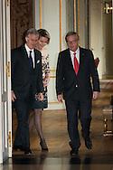 Le Roi Philippe et la Reine Mathilde ont reçu au Chateau de Laeken Monsieur Jean-Claude Junker, président de la commission européenne. Bruxelles, le 21 novembre 2014