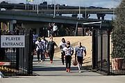 CINCINNATI, OH - DECEMBER 17: Cincinnati Bengals players make their way back to Paul Brown Stadium following a workout on the practice fields on December 17, 2015 in Cincinnati, Ohio. (Photo by Joe Robbins)