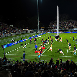 The Pumas warm up for the Rugby Championship match between the New Zealand All Blacks and Argentina Pumas at Trafalgar Park in Nelson, New Zealand on Saturday, 8 September 2018. Photo: Dave Lintott / lintottphoto.co.nz