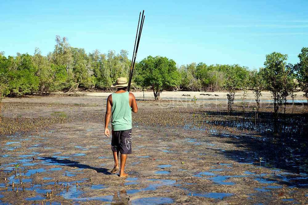 Aboriginal people in One Arm Point hunt on dugon and turtle, while fishing, and mud crabbing is a part of daily life.<br /> One Arm Point, Dampier Penninsula, WA