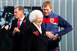 Marina Dolman greets Dean Holden as Representatives of Bristol City take part in a ceremony to plant tree's in memory of the 7 Bristol City player's who lost their lives serving during WW1 - Rogan/JMP - 09/11/2018 - FOOTBALL - Failand Training Ground - Bristol, England.
