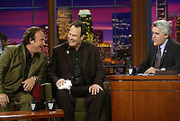 23 May 2003: Actors, Jim Belushi and Dan Akroyd perform as the Blues Brothers musical set during TV host Jay Leno on the set of a night taping of NBC's hit The Tonight Show with Jay Leno at the NBC Studios in Burbank, CA.