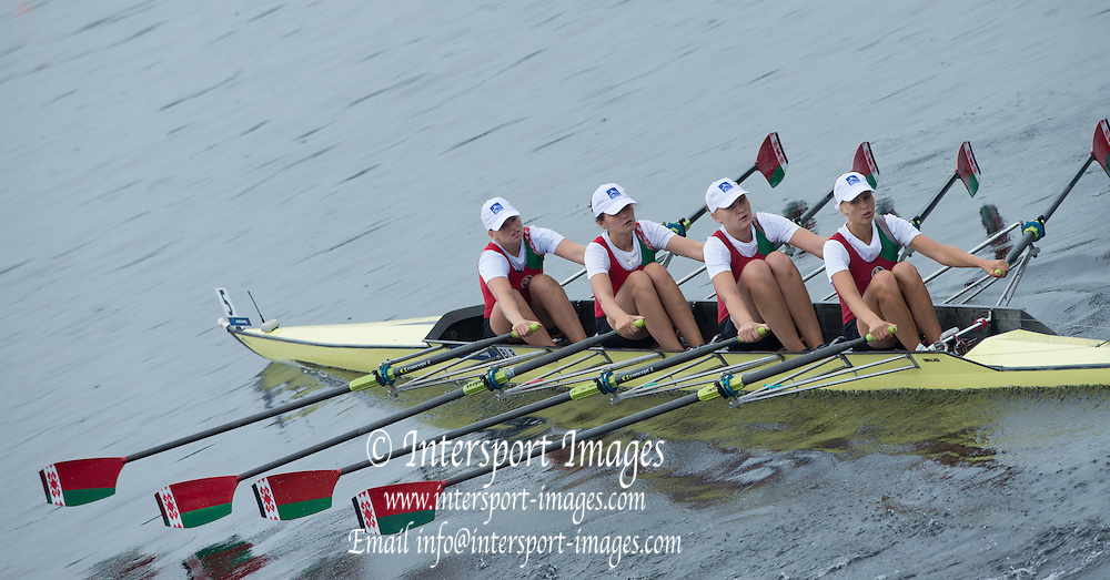Hamburg. GERMANY. USA JW4X. Haley ZAOOLSKI, Emily DELLEMAN, Georgia GRAY and Emily KALLFELZ. Thursday, Morning heats at the 2014FISA Junior World rowing. Championships.  10:43:01  Thursday  07/08/2014  [Mandatory Credit; Peter Spurrier/Intersport-images] 2014. Empacher. Hamburg.