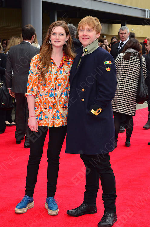 31.MARCH.2012. HERTFORSHIRE<br /> <br /> BONNIE WRIGHT AND RUPERT GRINT ATTENDS THE GRAND OPENING OF THE WARNER BROS. STUDIO TOUR IN LONDON: THE MAKING OF HARRY POTTER IN WATFORD, HERTFORDSHIRE.<br /> <br /> BYLINE: EDBIMAGEARCHIVE.COM<br /> <br /> *THIS IMAGE IS STRICTLY FOR UK NEWSPAPERS AND MAGAZINES ONLY*<br /> *FOR WORLD WIDE SALES AND WEB USE PLEASE CONTACT EDBIMAGEARCHIVE - 0208 954 5968*