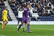 Rotherham United Goalkeeper Lee Camp blasts his players during the Sky Bet Championship match between Preston North End and Rotherham United at Deepdale, Preston, England on 2 January 2016. Photo by Pete Burns.