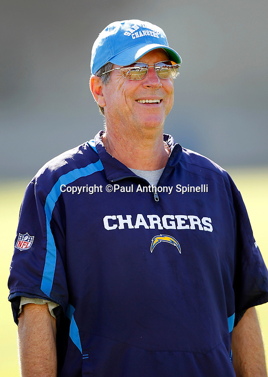 San Diego Chargers Head Coach Norv Turner smiles after a Chargers rookie minicamp on May 7, 2010 in San Diego, California. (©Paul Anthony Spinelli)
