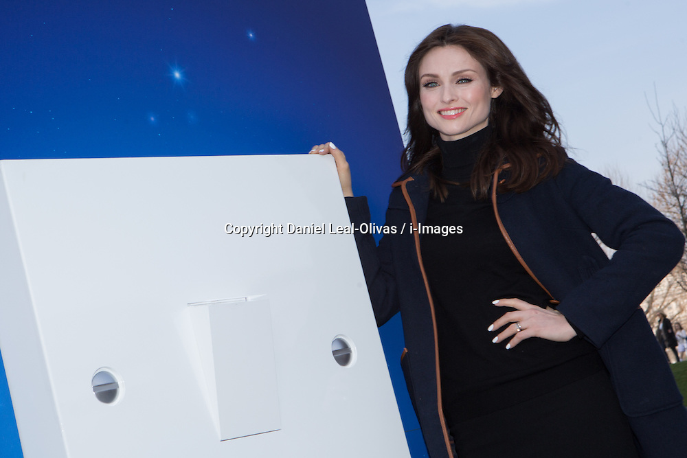Sophie Ellis-Bextor unveils giant light switch on for Earth Hour. Singer and UK ambassador for Earth Hour , an environmental movement which encourages people to take steps towards a more sustainable lifestyle, is available for photo and interview opportunity as she unveils a giant light switch on London\'s Southbank. Jubilee Gardens, Southbank, London, United Kingdom. Saturday, 29th March 2014. Picture by Daniel Leal-Olivas / i-Images