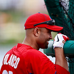 March 9, 2011; Lakeland, FL, USA; Philadelphia Phillies third baseman Placido Polanco (27) before a spring training exhibition game against the Detroit Tigers at Joker Marchant Stadium.   Mandatory Credit: Derick E. Hingle