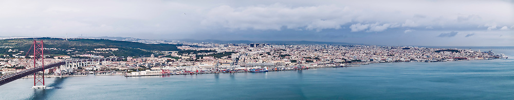 Lisbon, November 2012. Panoramic view of Lisbon from the opposite side of Tagus Estuary.