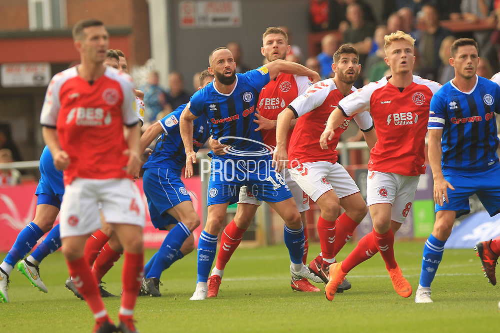 Aaron Wilbraham, corner action during the EFL Sky Bet League 1 match between Fleetwood Town and Rochdale at the Highbury Stadium, Fleetwood, England on 18 August 2018.