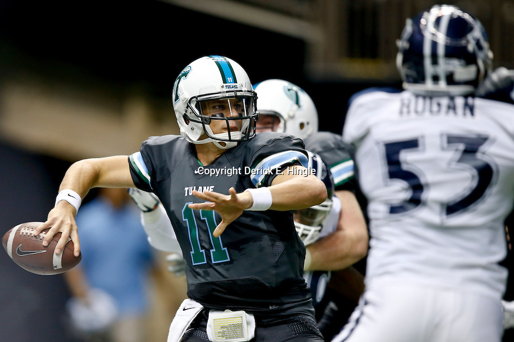 Aug 29, 2013; New Orleans, LA, USA; Tulane Green Wave quarterback Nick Montana (11) during the first half against the Jackson State Tigers at the Mercedes-Benz Superdome. Mandatory Credit: Derick E. Hingle-USA TODAY Sports