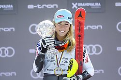 March 16, 2019 - Andorra La Vella, Andorra - Mikaela Shiffrin of USA Ski Team, win the Crystal Globe of  Ladie's Giant Slalom Audi FIS Ski World Cup, on March 16, 2019 in El Tarter, Andorra. (Credit Image: © Joan Cros/NurPhoto via ZUMA Press)
